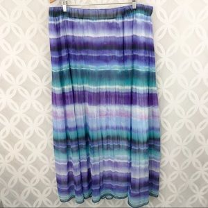 Lane Bryant Tri-Color Pleated Maxi Skirt